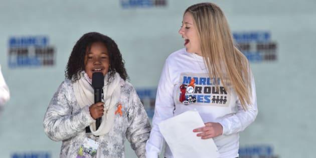"""Yolanda Renee King et Jaclyn Corin à la """"Marche pour nos vies"""" à Washington le 24 mars 2018."""