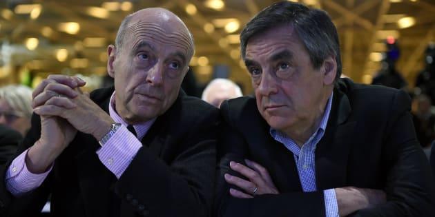 Alain Juppé et François Fillon durant le conseil national des Républicains, le 13 février 2016.