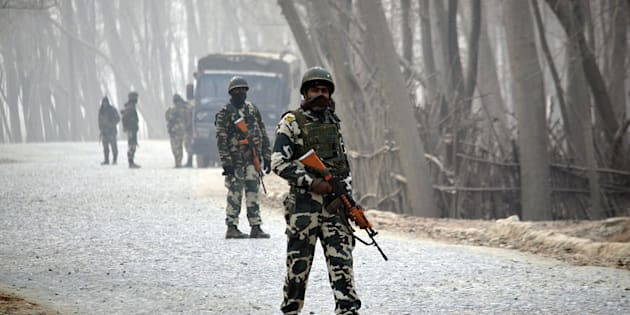 Indian paramilitary soldiers in Bijbehara near Srinagar in Kashmir.