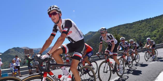 Le Français Warren Barguil, ici sur la 3e étape de la Vuelta, exclu du Tour d'Espagne pour indiscipline