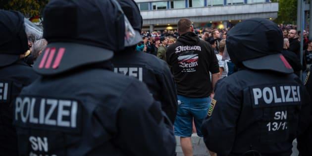 Le 1er septembre, la police intervient lors d'une manifestation de l'extrême droit à Chemnitz.
