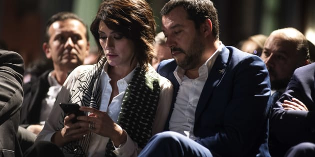 ROME, ITALY - OCTOBER 24: Matteo Salvini(R) and Elisa Isoardi (L) take part at the book presentation of Sergio Pirozzi, Mayor of Amatrice on October 24, 2017 in Rome, Italy.(Photo by Antonio Masiello/Getty Images)