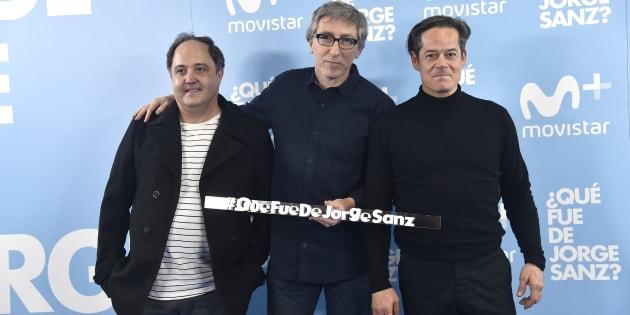 El director David Trueba con los actores Eduardo Antuña y Jorge Sanz durante la presentación de '¿Qué fue de Jorge Sanz?'.