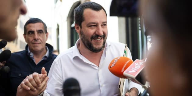 ROME, ITALY - APRIL 26: Leader of Lega political party, Matteo Salvini, leaves the parliament after a new day of meetings for the formation of the new government on April 26, 2018 in Rome, Italy. Chamber of Deputies President Roberto Fico (not in picture) after a reporting back to Italian President Sergio Mattarella on his exploratory mandate said that 'Dialogue on possible government formation has been started between the anti-establishment 5-Star Movement (M5S) and the centre-left Democratic Party (PD) and now we must await a PD executive meeting on May 3. (Photo by Antonio Masiello/Getty Images)