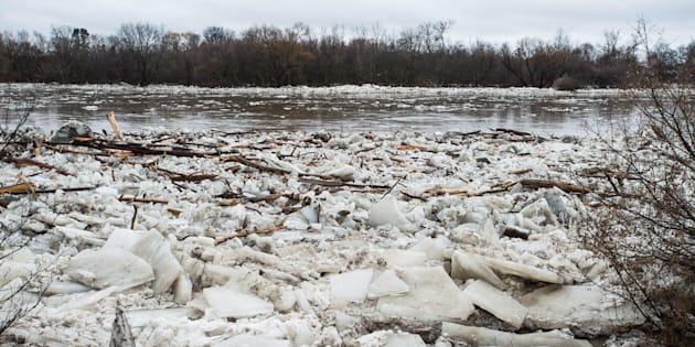 Ice is seen in the high waters of the Grand River in Brantford where residents were being evacuated due to flooding after an ice jam upstream of Parkhill Dam sent a surge of water downstream on Feb. 21, 2018.
