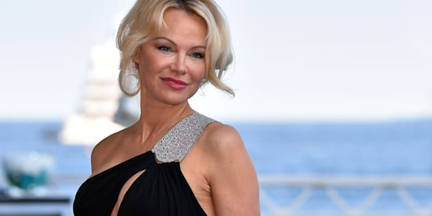 """Actress Pamela Anderson attending event """"Amber Lounge Monaco 2017"""" in Monaco, May 26th, 2017."""