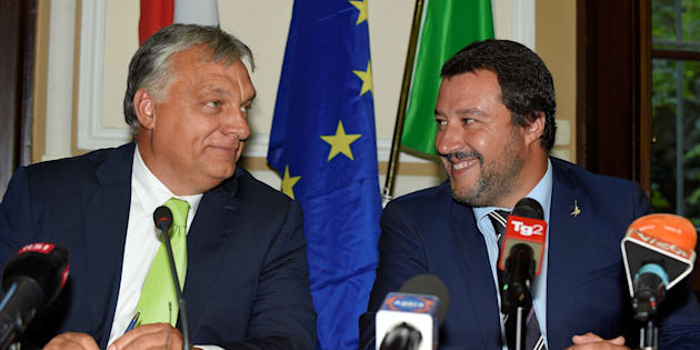 Italian Interior Minister Matteo Salvini meets with Hungarian Prime Minister Viktor Orban in Milan, Italy, August 28, 2018. REUTERS/Massimo Pinca