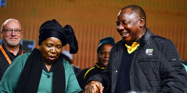 Deputy President Cyril Ramaphosa  and Nkosazana Dlamini-Zuma share a light moment during the ANC 5th national policy conference at the Nasrec Expo Centre on July 01, 2017 in Johannesburg.