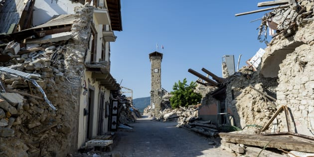 The images inside the red area of Amatrice, a village completely destroyed by the earthquake of 24 August 2016. Amatrice August 1, 2017 (Photo by Fabrizio Di Nucci/NurPhoto via Getty Images)