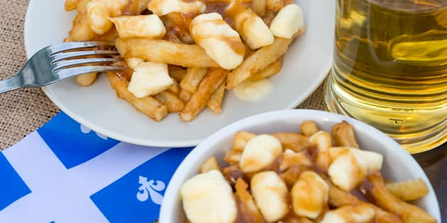 Classic Quebec poutine with french fries, gravy, and cheese curds