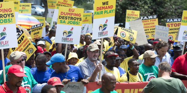 Food and Allied Workers Union members march to the European Union embassy on February 1, 2017 in Pretoria, demanding a halt to the chicken imports that have led to the local poultry industry job loss crisis.
