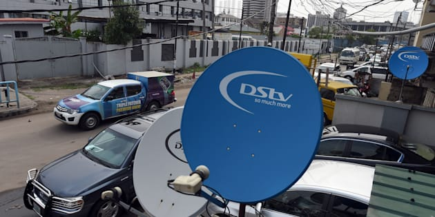 A picture shows South African broadcasting campany MultiChoice's digital satellite TV dishes installed on homes and offices.
