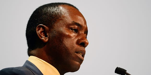 Mosebenzi Zwane, South African Minister of Mineral Resources, speaks on the first day of the Mining Indaba 2017 Conference on February 6, 2017, at the Cape Town International Convention Centre in Cape Town.