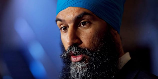 NDP Leader Jagmeet Singh speaks during a media availability in the House of Commons foyer on Parliament Hill in Ottawa on June 12, 2018.