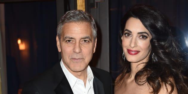 George Clooney et Amal Clooney au Fouquet's le 24 février 2017.