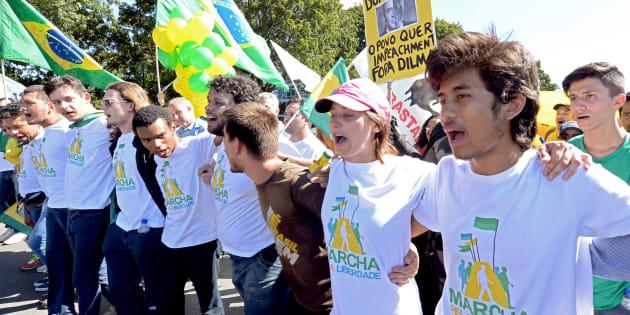 Integrantes do MBL durante a Marcha da Liberdade, que pedia o impeachment da presidente Dilma Rousseff.
