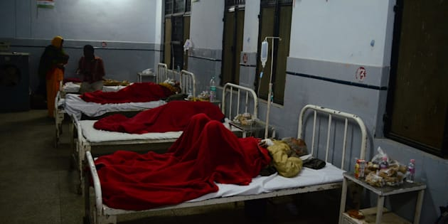 Victims of Indore-Patna Express train accident admitted in district hospital, some 60 kms from Kanpur, on November 20, 2016.