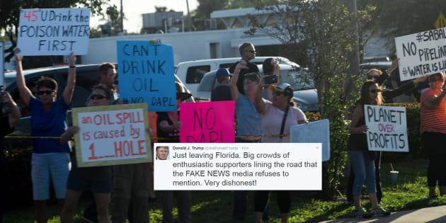 """Donald Trump accuse les médias """"FAKE NEWS"""", mais confond ses supporters avec des opposants"""