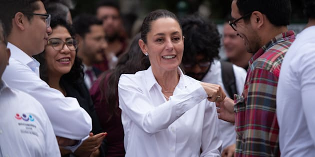 Claudia Sheinbaum durante un acto político en la delegación Azcapotzalco.