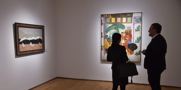 """La obra """"Los Rivales"""" de Diego Rivera mostrada en la colección privada de los Rockefeller en la ciudad de Nueva York."""