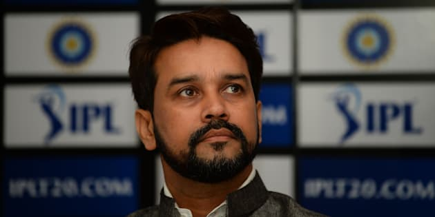 Board of Control for Cricket in India (BCCI) President Anurag Thakur looks on as he speaks during a press conference in New Delhi on September 18, 2016. / AFP / SAJJAD HUSSAIN