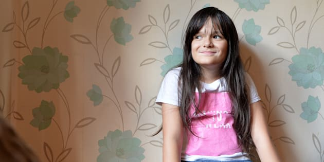 Paddy McGuire, a 10-year-old transgender girl, is pictured in her home in Leicester, England in 2017.