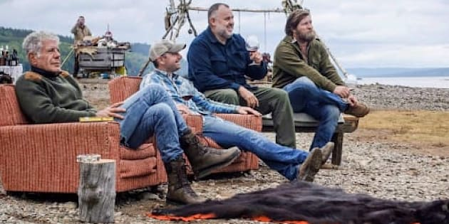 """Anthony Bourdain with Newfoundland chef Jeremy Charles, far right, during the filming of """"Parts Unknown"""" in Newfoundland."""