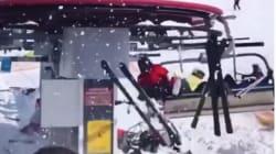 スキー場でリフトが逆走、恐怖のあまり叫ぶ人々…