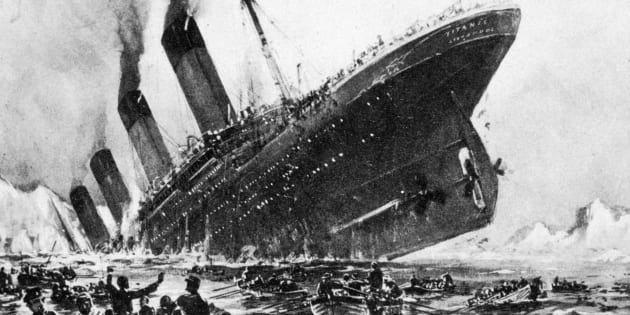An artist's impression of the SS Titanic sinking on April 14, 1912. The Titanic's was one of the few at the time that actually did enforce a 'Women and children first' rule.