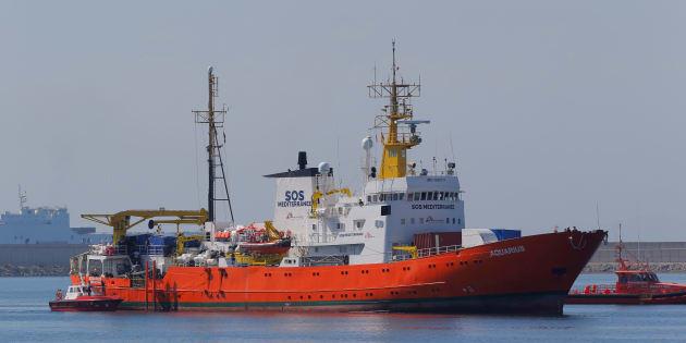 Llegada del 'Aquarius' al puerto de Valencia.