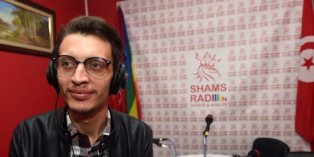 Bouhdid Belhadi, director of Radio Shams, the first LGBT radio station in the Arab region, poses in the studio prior to doing a live broadcast during the opening of the radio station on December 18, 2017 in Tunis.