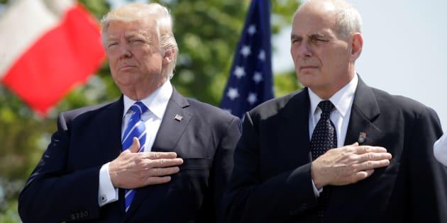 (Photo: Donald Trump avec John Kelly, le 17 mai 2017 dans le Connecticut, alors qu'il était encore ministre de la Sécurité intérieure)