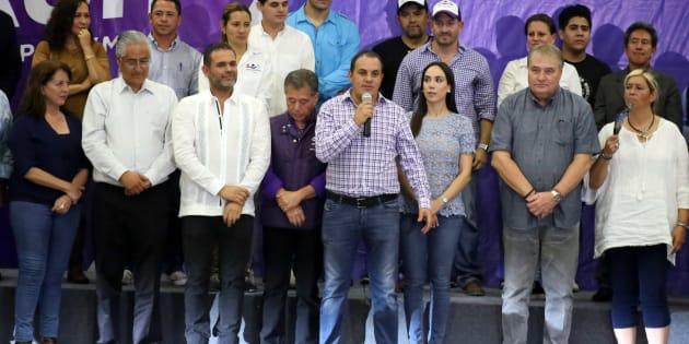 Cuauhtémoc Blanco Bravo, virtual gobernador del estado al dar un mensaje a los medios, luego de que termino la jornada electoral.