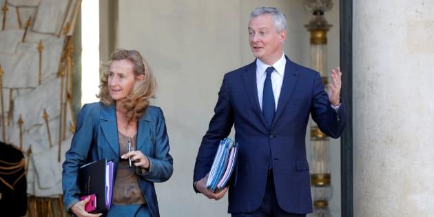 Bruno Le Maire et Nicole Belloubet quittant l'Elysée mercredi 10 octobre 2018