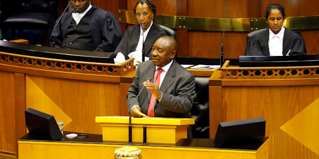 President Cyril Ramaphosa addresses MPs after being elected president of the Republic of South Africa in Parliament in Cape Town, February 15, 2018.