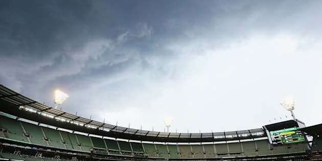 The storm rolling into the MCG.