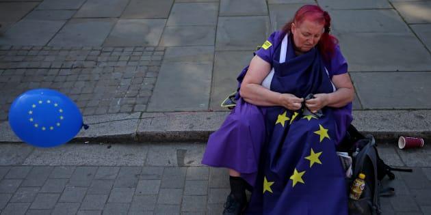 Una manifestante británica contraria al Brexit.