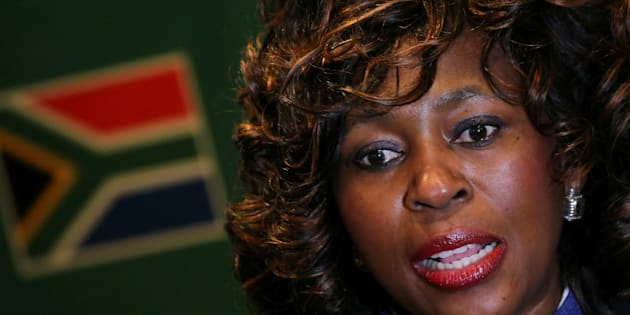 Makhosi Khoza gestures during an interview with Reuters in Johannesburg, South Africa, July 18,2017.