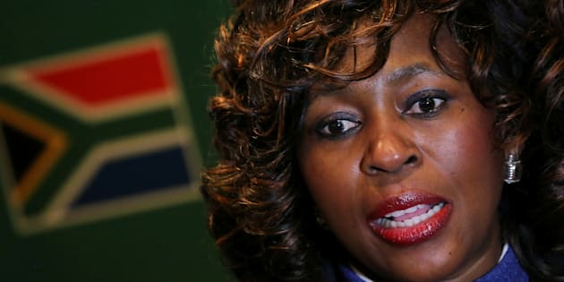 Makhosi Khoza gestures during an interview with Reuters in Johannesburg, South Africa, July 18, 2017.