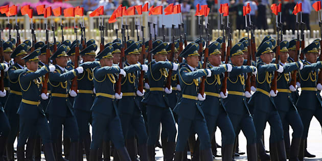 Kyrgyzstan's soldiers march during the military parade marking the 70th anniversary of the end of World War Two, in Beijing, China, September 3, 2015. REUTERS/Damir Sagolj