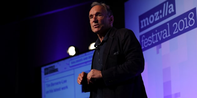 World Wide Web founder Tim Berners-Lee speaks at the Mozilla Festival 2018 in London, U.K., Oct. 27. Berners-Lee says technology giants such as Facebook and Google have grown so dominant they may need to be broken up.