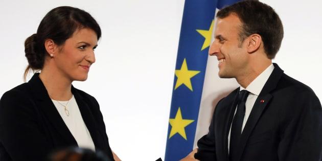 Emmanuel Macron et sa secrétaire d'Etat à l'égalité entre les femmes et les hommes Marlène Schiappa.