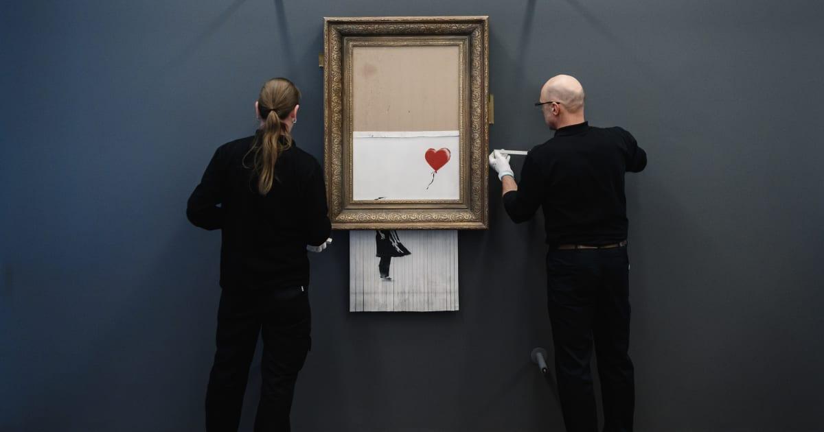 Il quadro autodistrutto di Bansky esposto in Germania per un mese