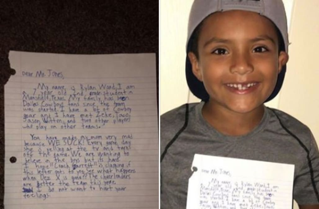 A Fed Up 7 Year Old Cowboys Fan Writes Hilarious Letter To