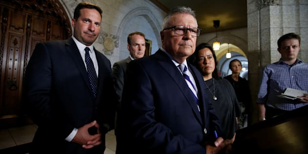 Public Safety Minister Ralph Goodale takes part in a news conference with Liberal MPs Marco Mendicino and Steven MacKinnon, as well as Justice Minister Jody Wilson-Raybould in Ottawa on July 7, 2017.