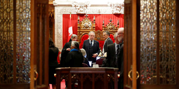 Senator Peter Harder. the government's representative in the Senate, waits for the start of a vote in the Senate chamber on Parliament Hill in Ottawa on March 22, 2018.