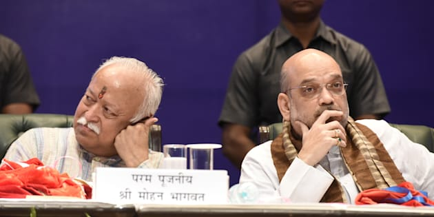 A file photo of RSS chief Mohan Bhagwat (left) with BJP president Amit Shah.