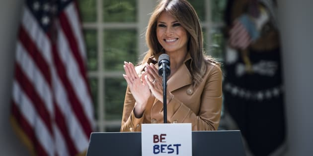 WASHINGTON, DC - MAY 7: First lady Melania Trump speaks about her new Be Best program and initiatives during an event in the Rose Garden of the White House on Monday, May 07, 2018 in Washington, DC. (Photo by Jabin Botsford/The Washington Post via Getty Images)