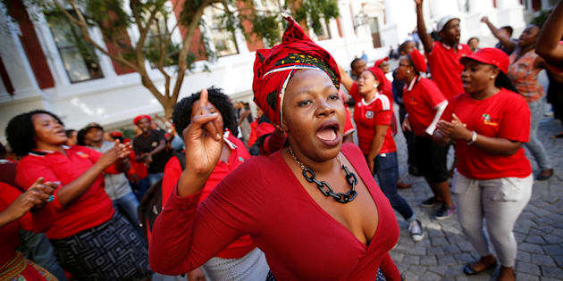 Members of Julius Malema's Economic Freedom Fighters (EFF) party.