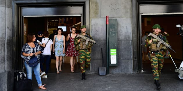 Belgian army soldiers patrol around the Central train station in Brussels on June 21, 2017 following a failed terrorist bomb attack a day earlier.  The bomber killed by soldiers in a busy Brussels rail station was a 36-year-old Moroccan national, the federal prosecutor's office said. / AFP PHOTO / EMMANUEL DUNAND        (Photo credit should read EMMANUEL DUNAND/AFP/Getty Images)